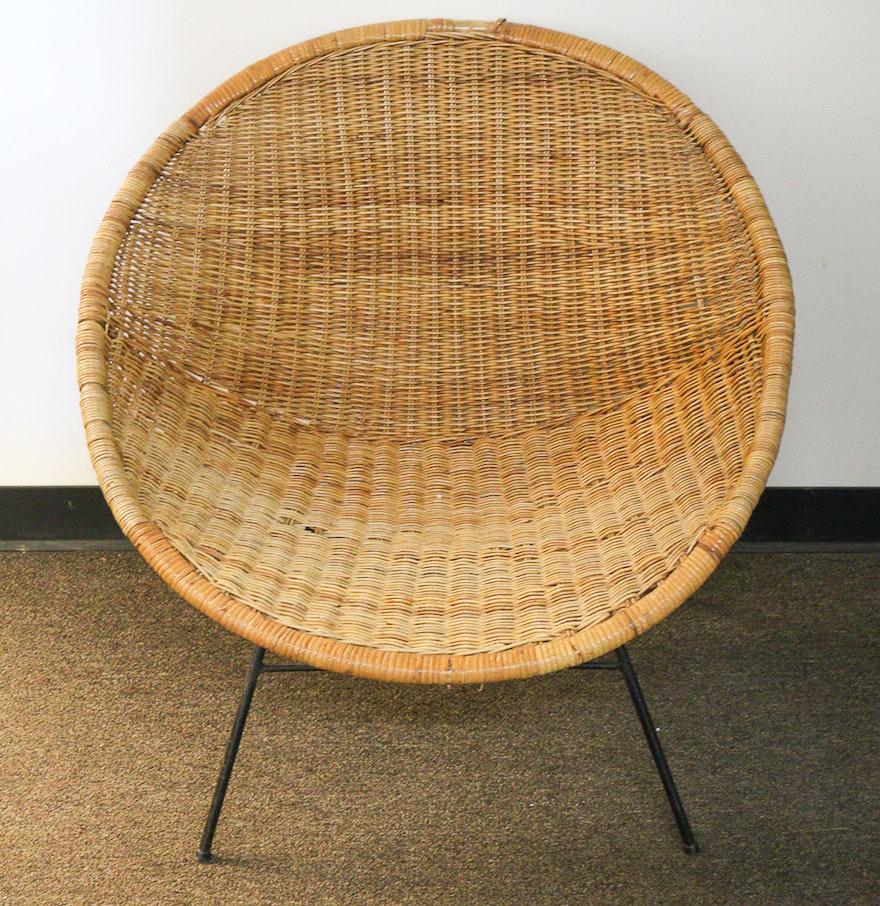 vintage rattan saucer chair ebth