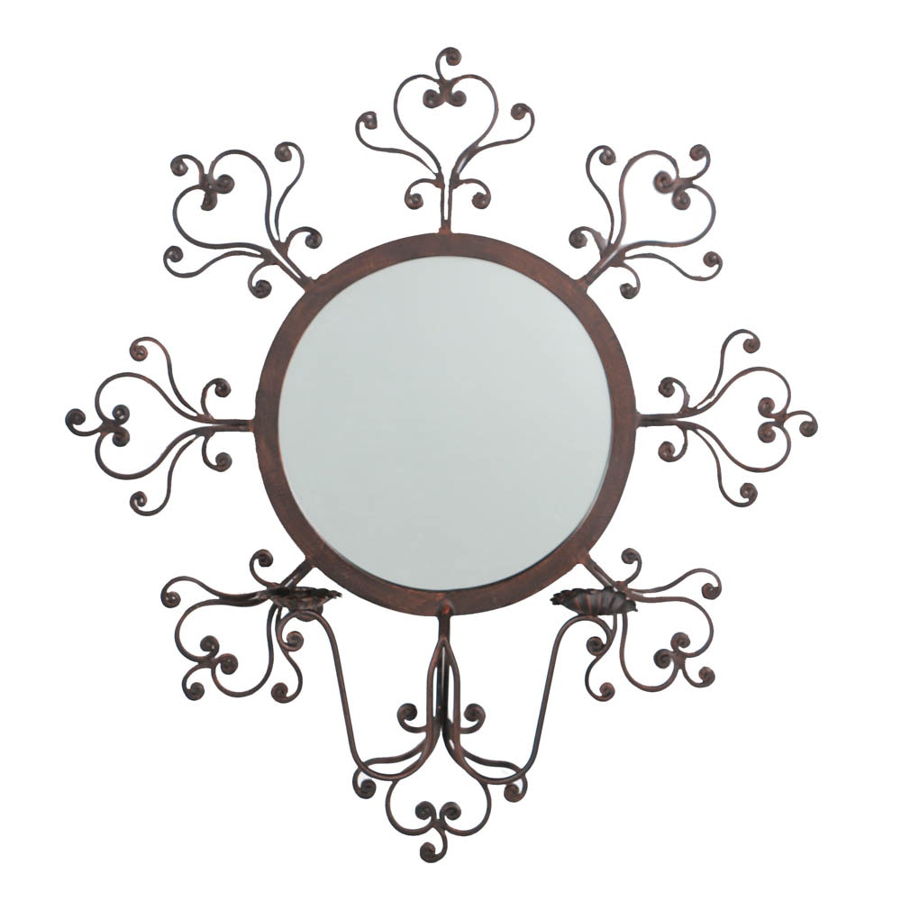 Cartouche Mirror with Candle Holders
