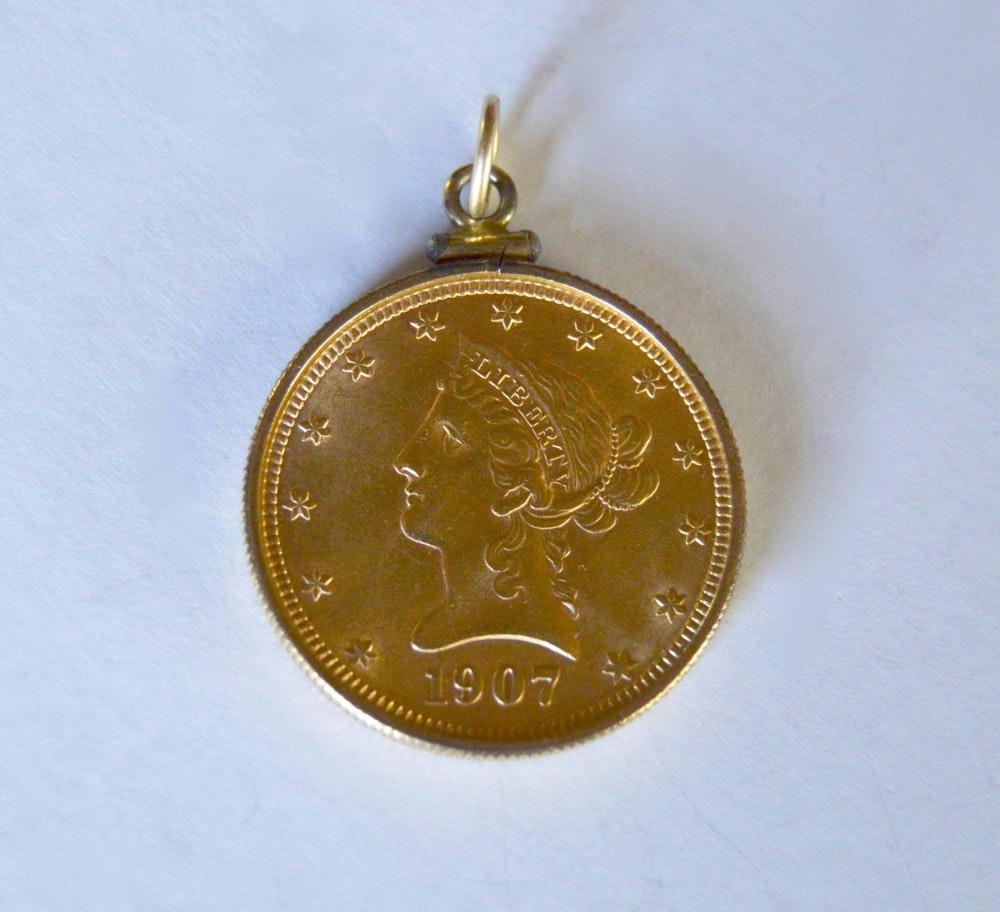 22k 1907 Liberty Ten Dollar Coin Pendant