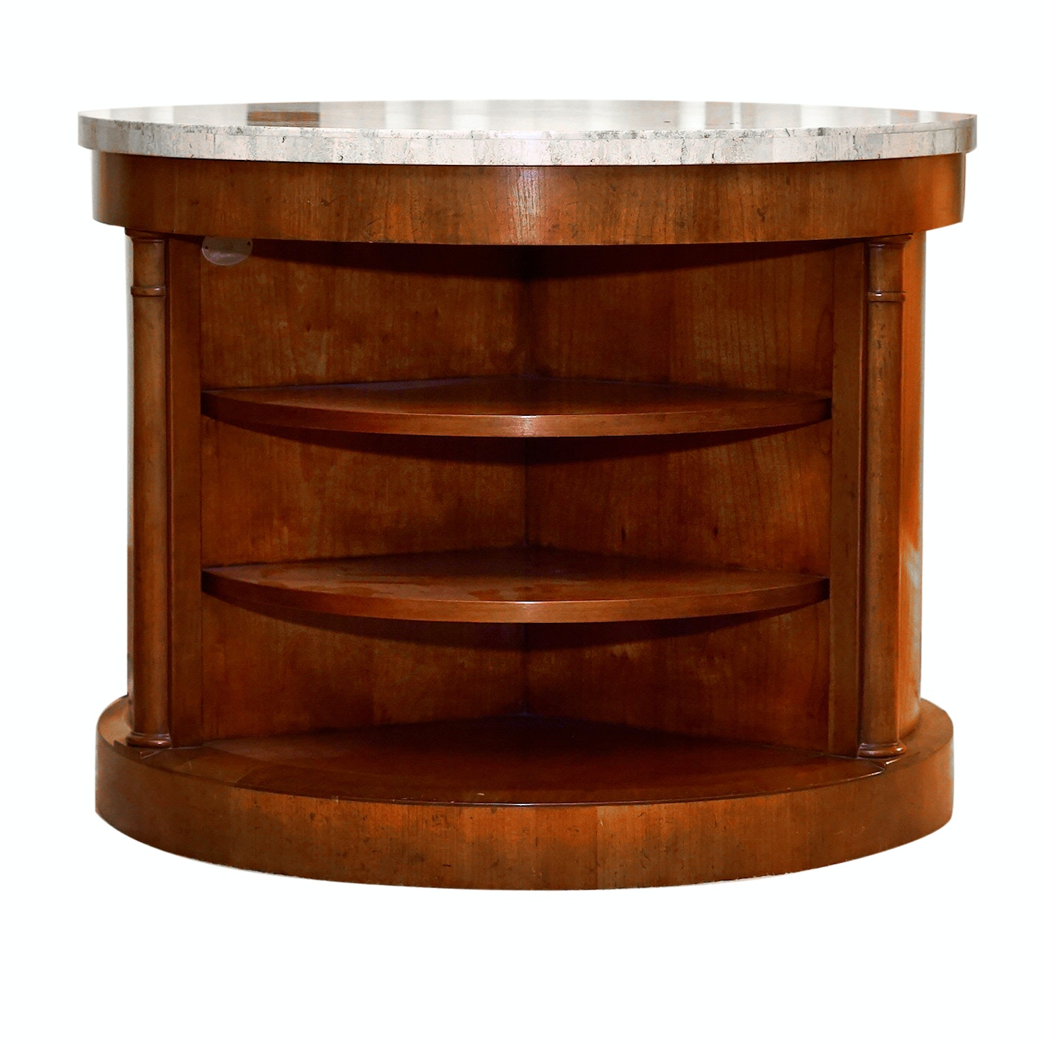 Baker Furniture Round Stone Top Side Table