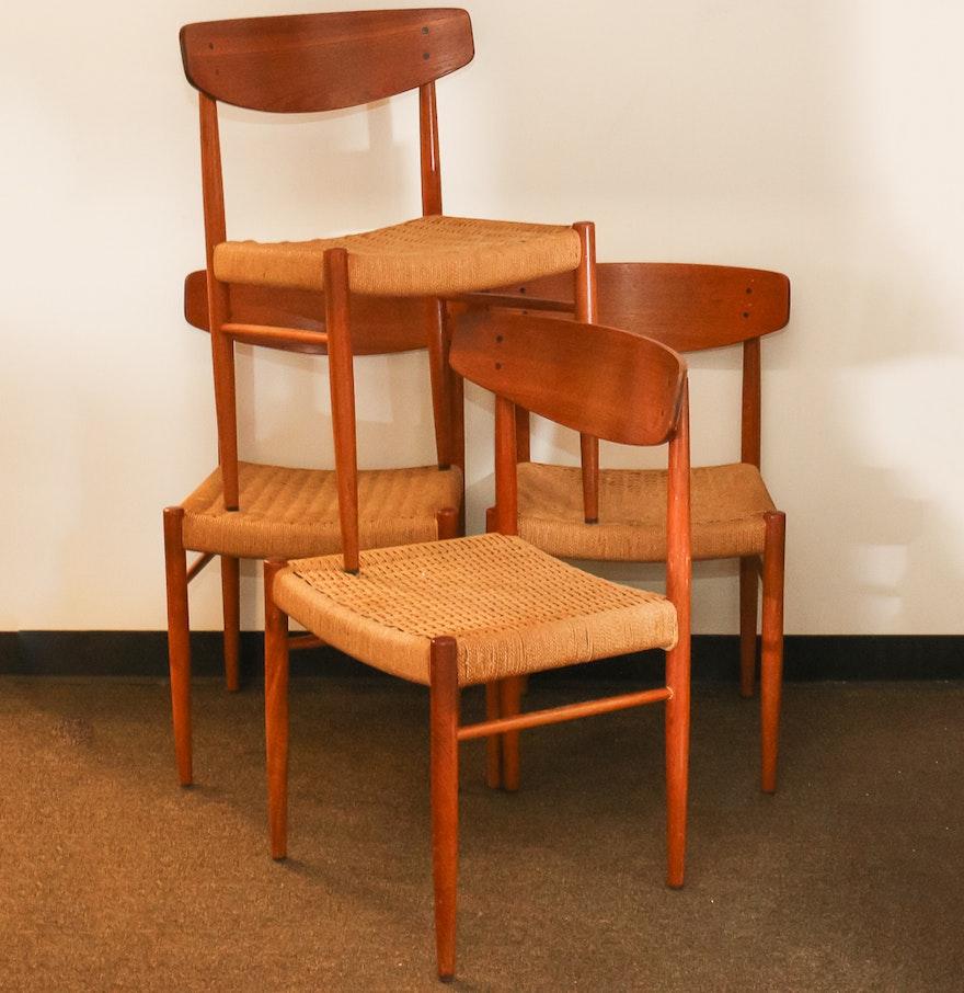 Danish Modern Dining Chairs: Danish Modern Rush Seat Dining Chairs : EBTH