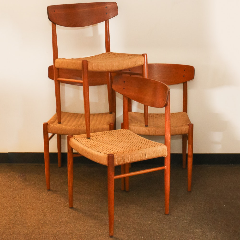Danish Modern Rush Seat Dining Chairs ...