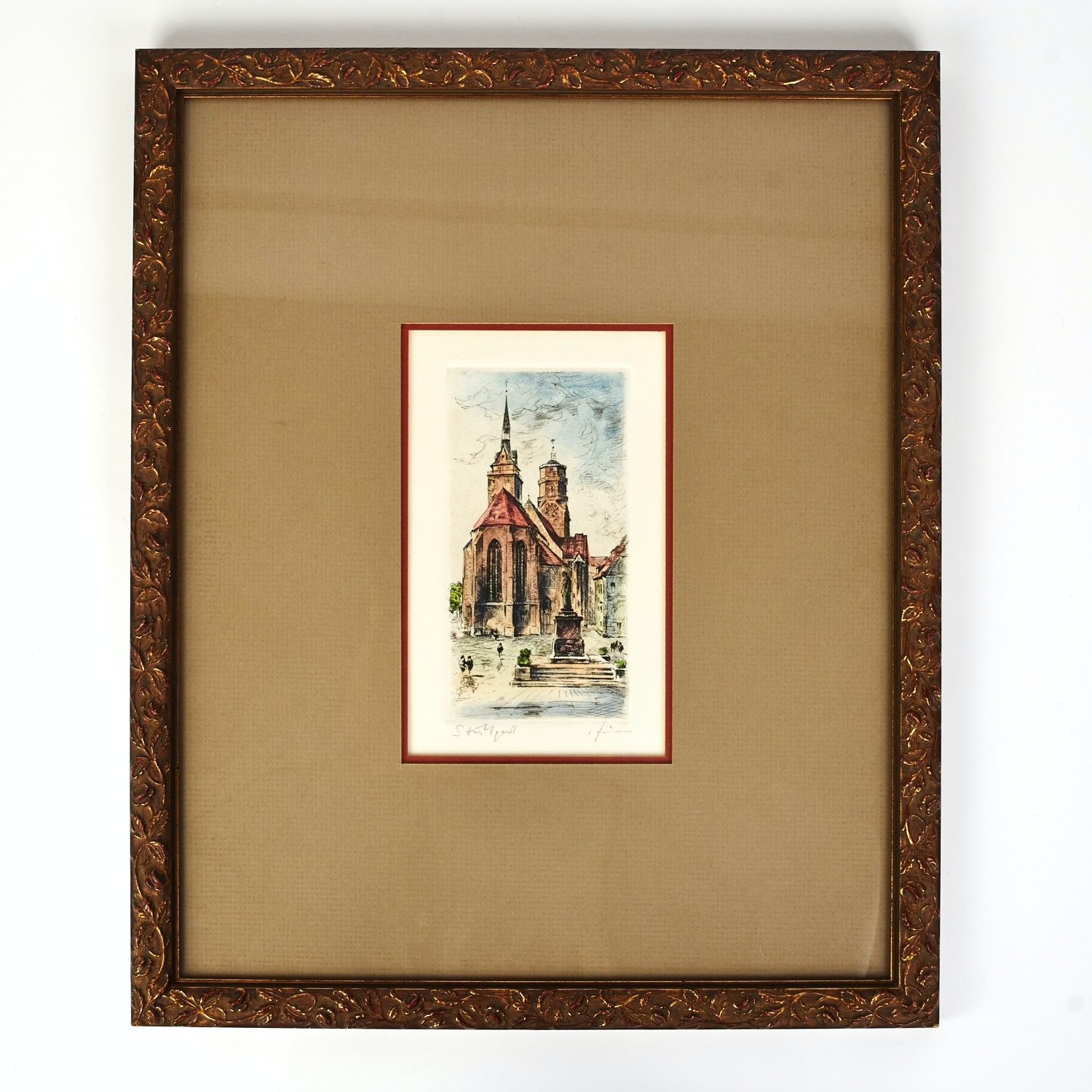 Artist Signed Hand Colored Etching Of A Church