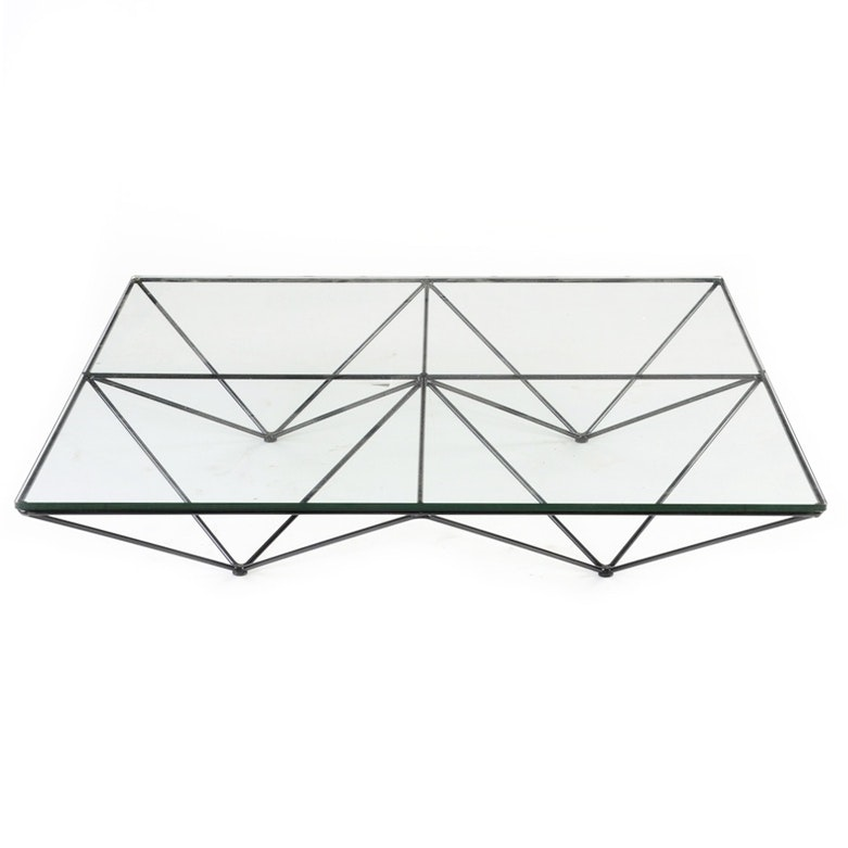 "Paolo Piva Designed ""Alanda"" Glass Top Coffee Table"