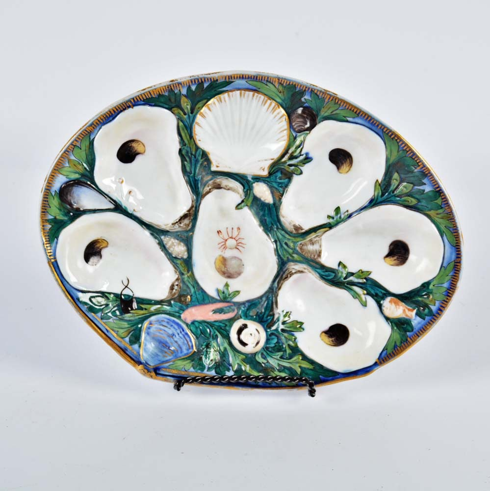 Union Porcelain Works Majolica Oyster Plate