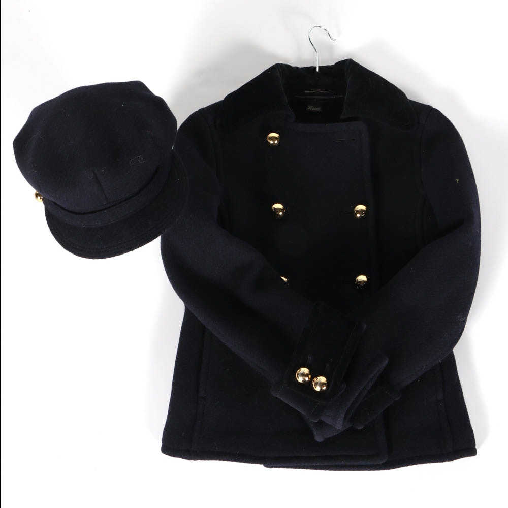 Coach Navy Blue Peacoat And Matching Hat