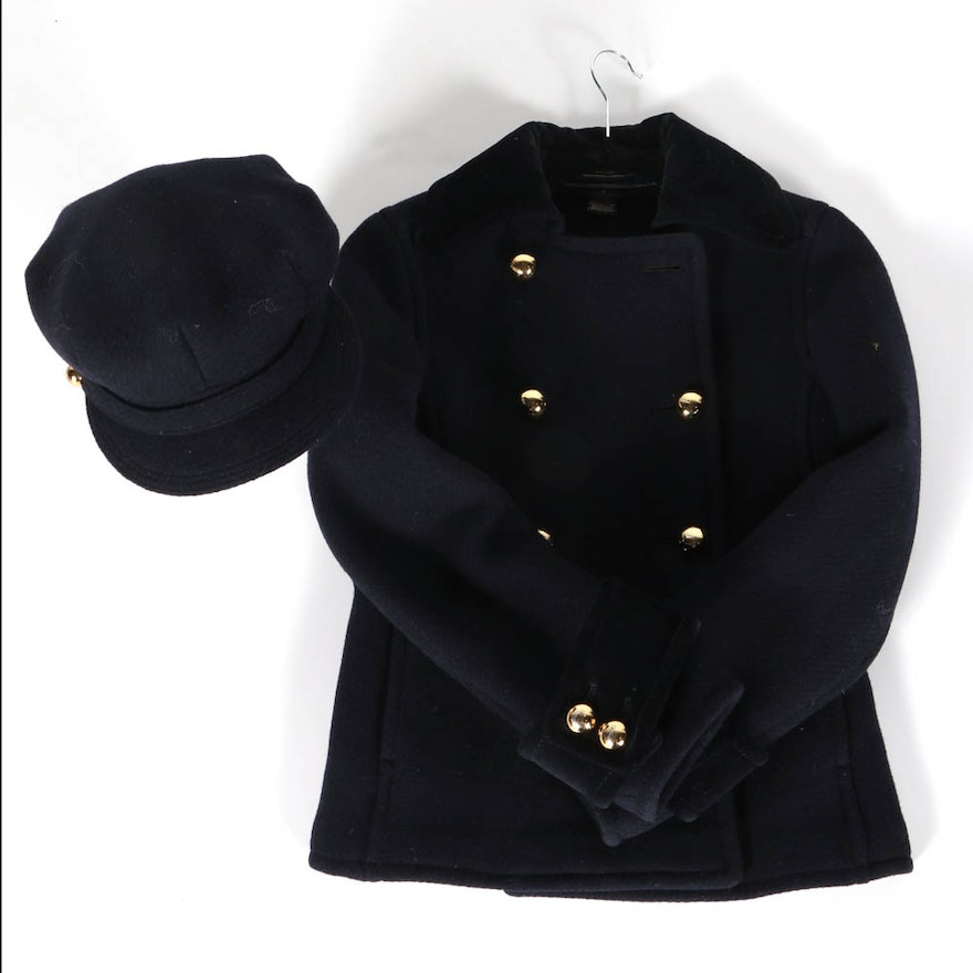 d216134587f Coach Navy Blue Peacoat And Matching Hat   EBTH
