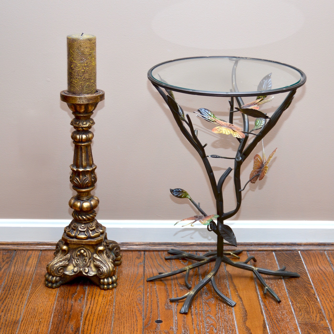 Wrought iron glass accent table and candlestick ebth for Wrought iron and glass side tables