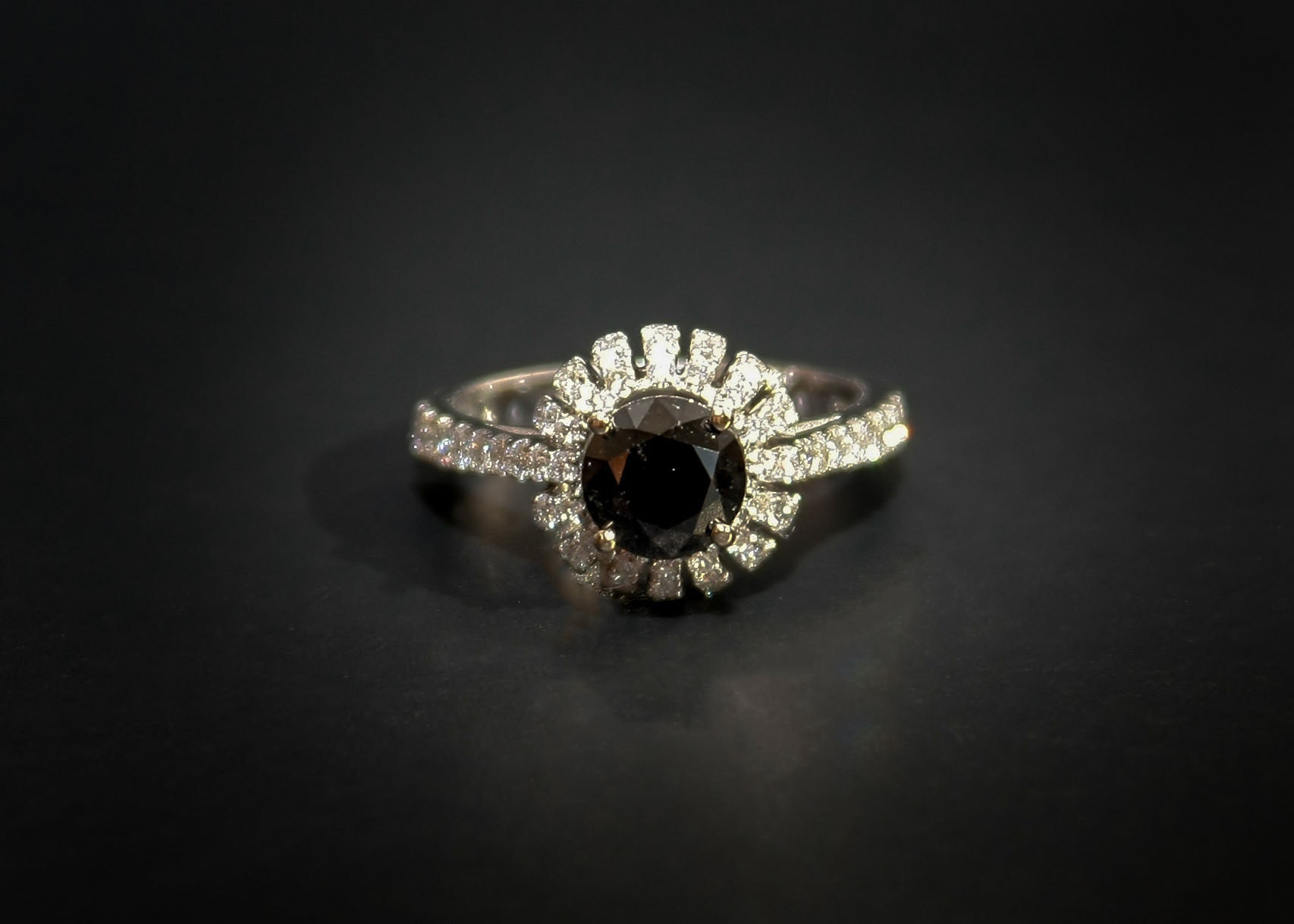 18K White Gold and Black Diamond Ring