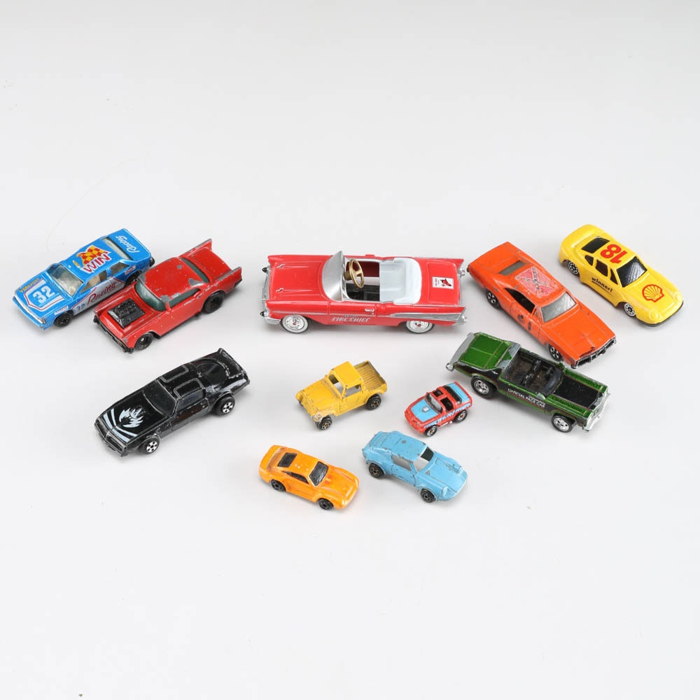 """Collection of Metal Toy Cars featuring a Texaco """"Fire Chief"""" Model Car"""