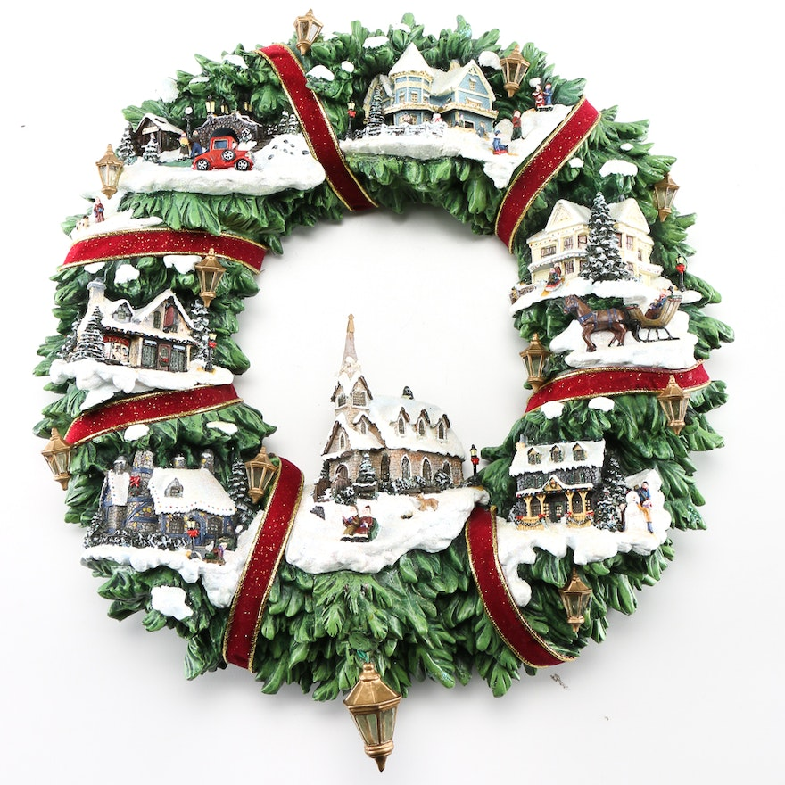 Thomas Kinkade Christmas Village Wreath Ebth