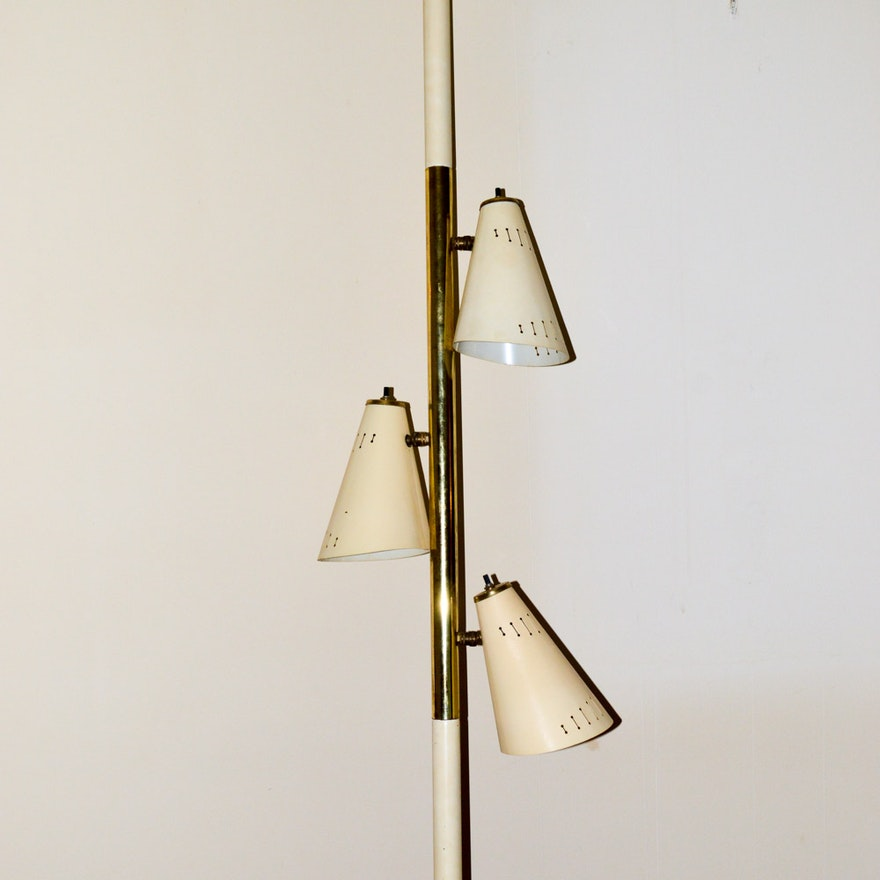Mid Century Metal Shade Tension Pole Lamp