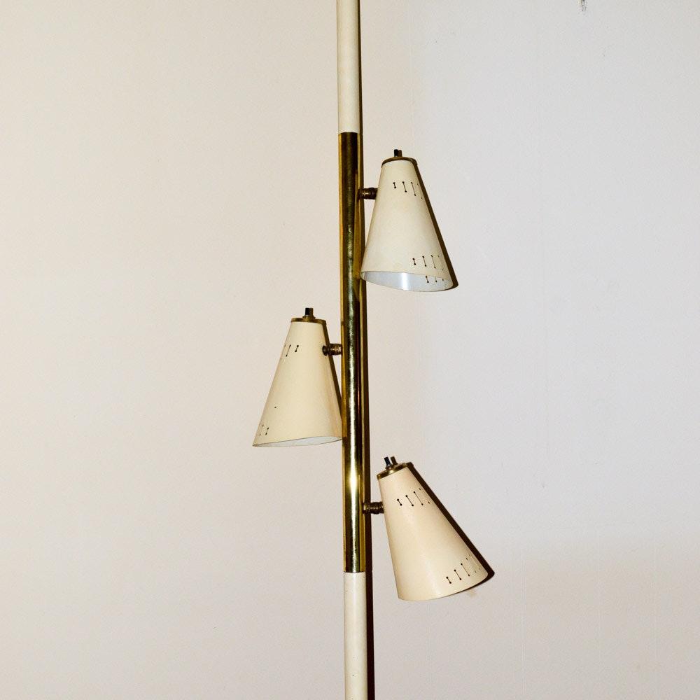 Mid Century Metal Shade Tension Pole Lamp ...