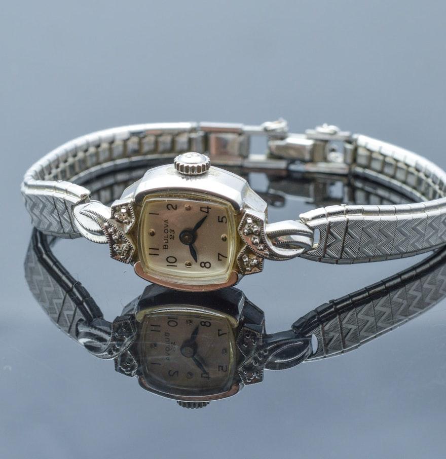 Bulova 10K White Rolled Gold Plate and Diamond Wristwatch ...