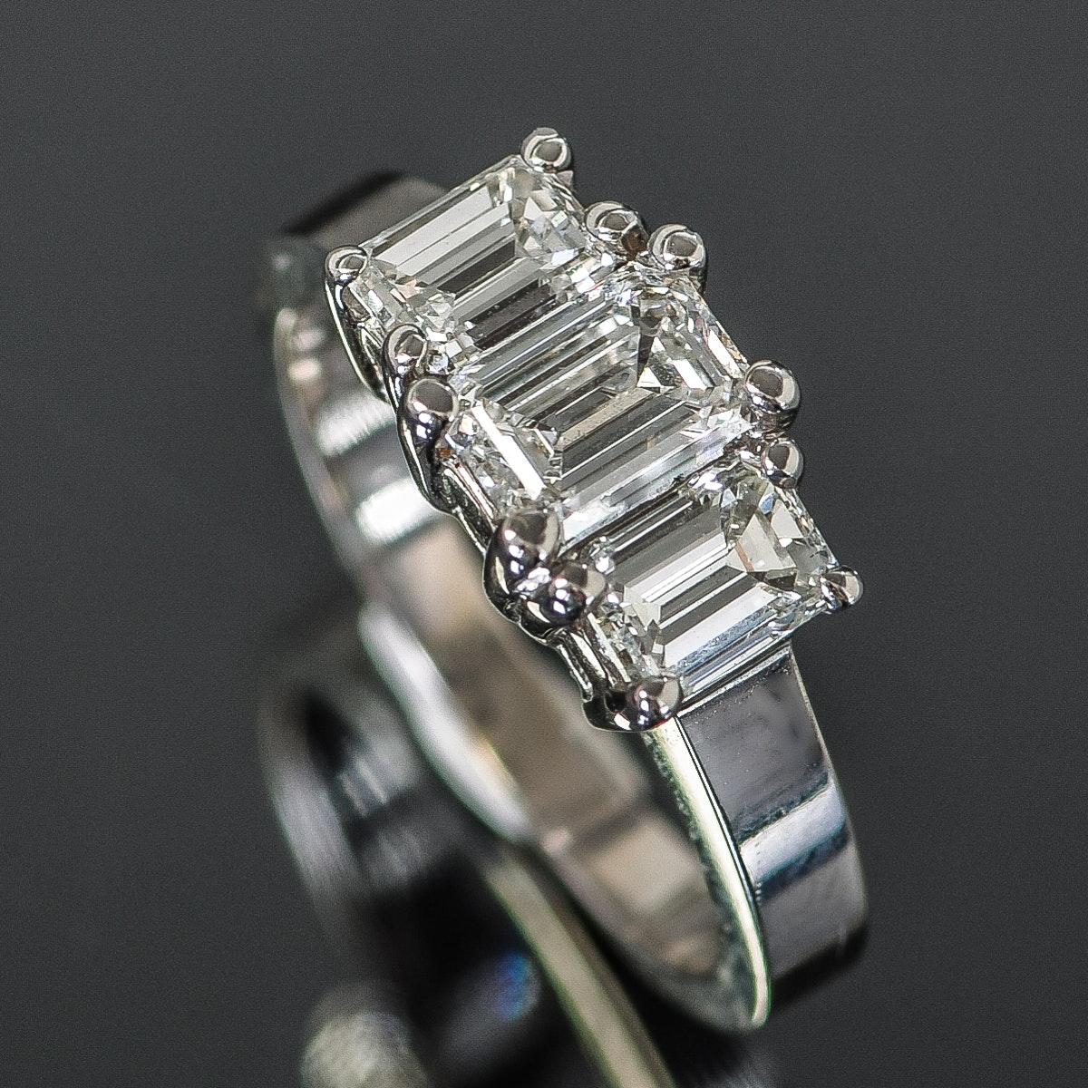 18K White Gold and 1.28 CTW Three-Stone Diamond Ring