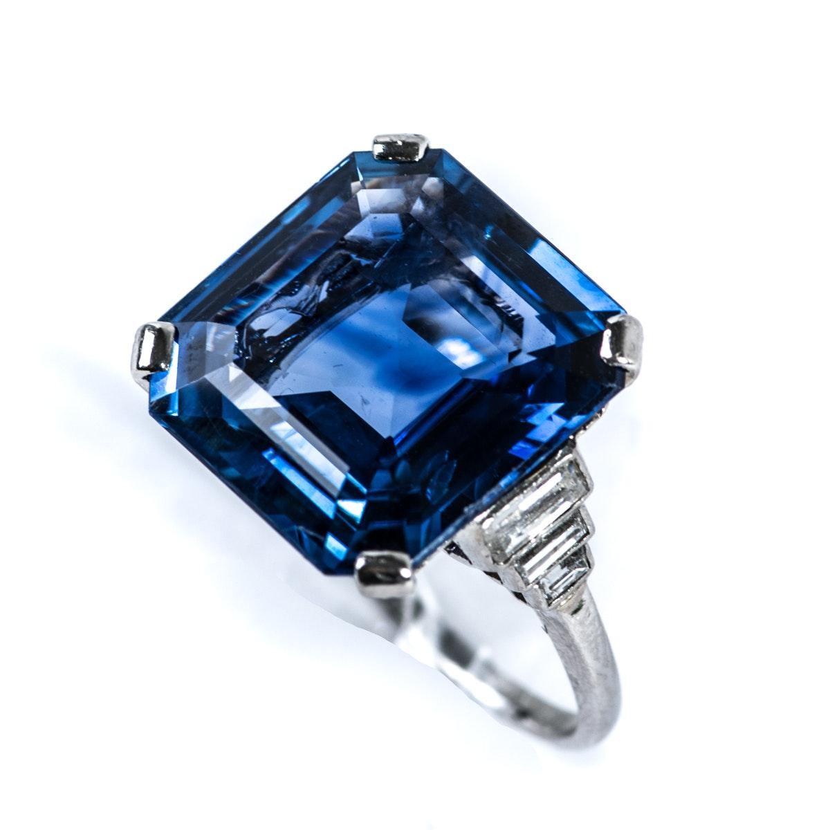 12.19 CT Sapphire, Platinum, and Diamond Ring