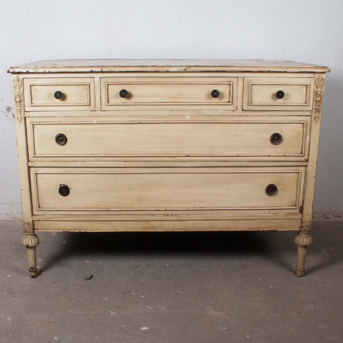 Antique White Painted Sheraton Style Chest of Drawers