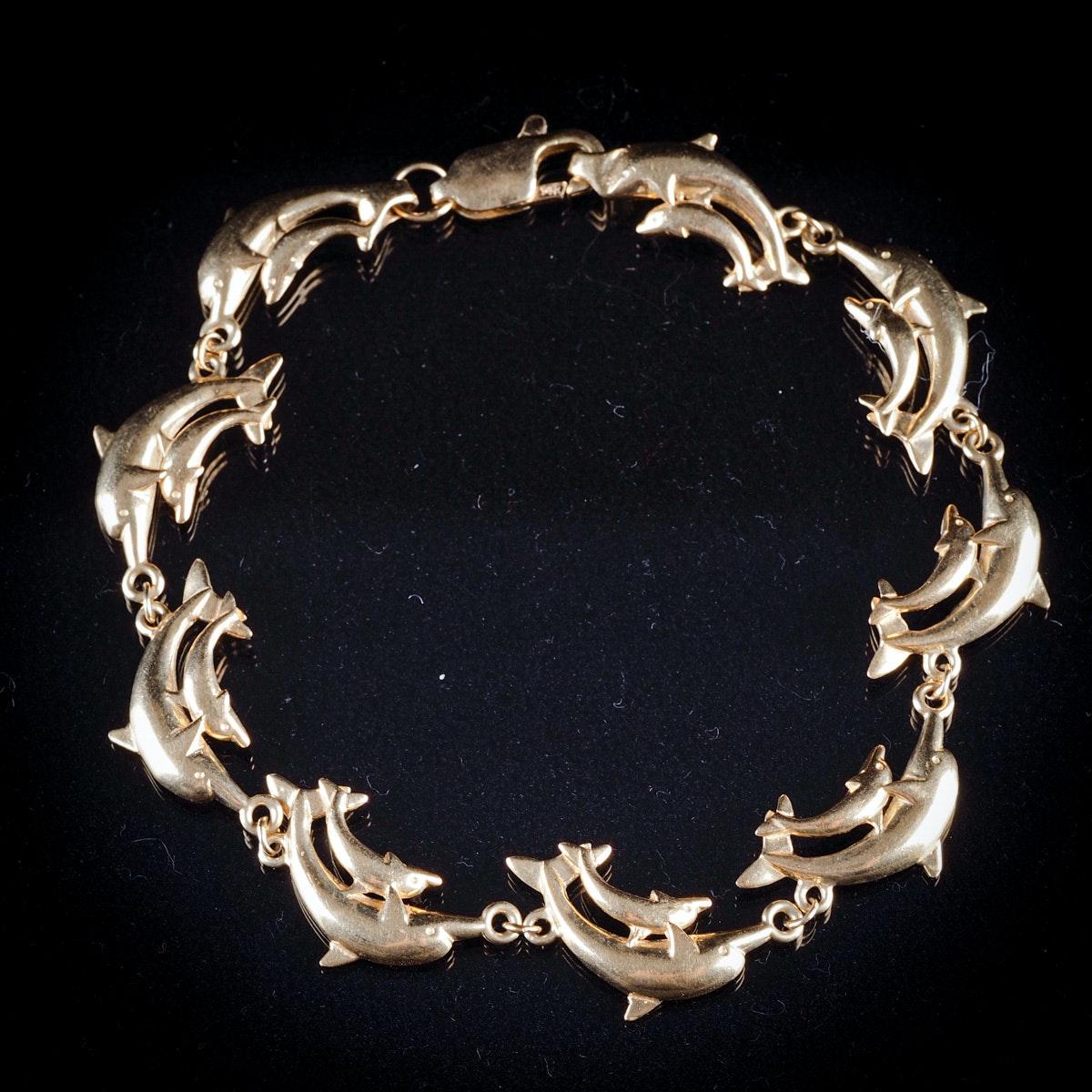 14K Yellow Gold Double Dolphin Bracelet