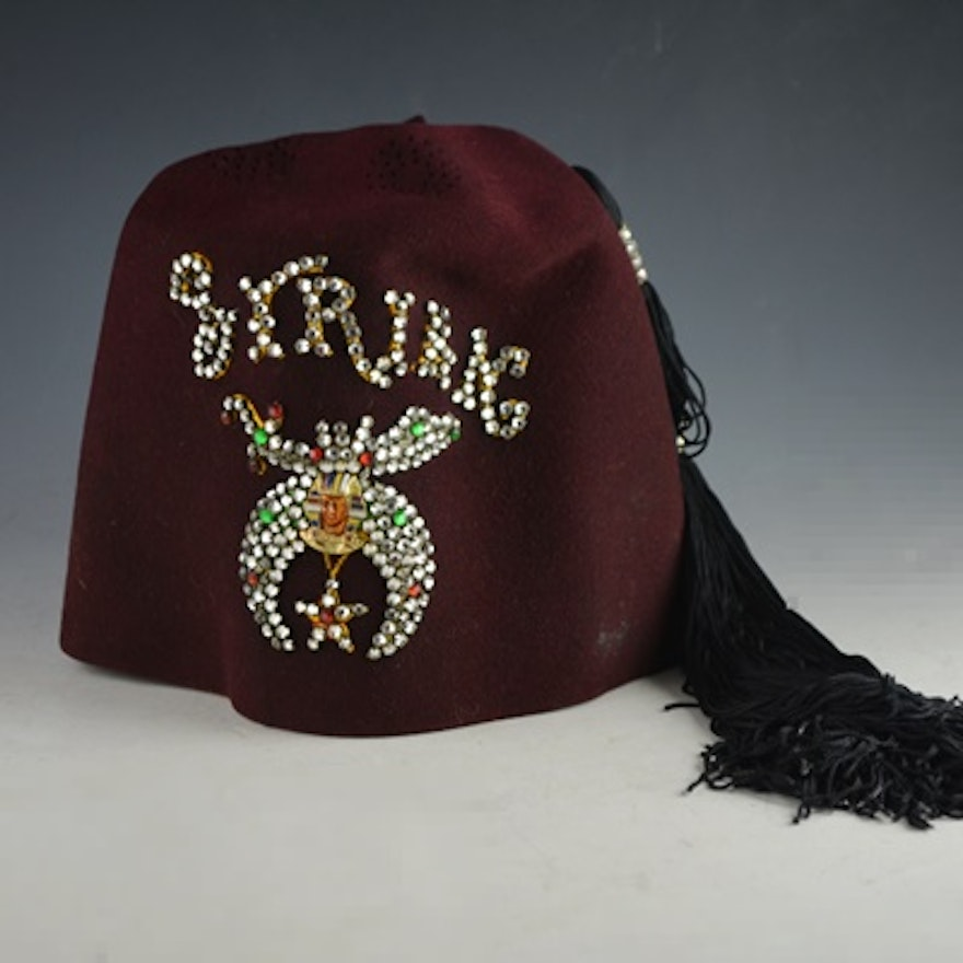059b086f9 Vintage Syrian Shriner's Fez with Tassel and Pin