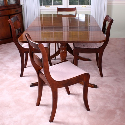 Cherry duncan phyfe dining table and six chairs ebth for Duncan 5 dining room table