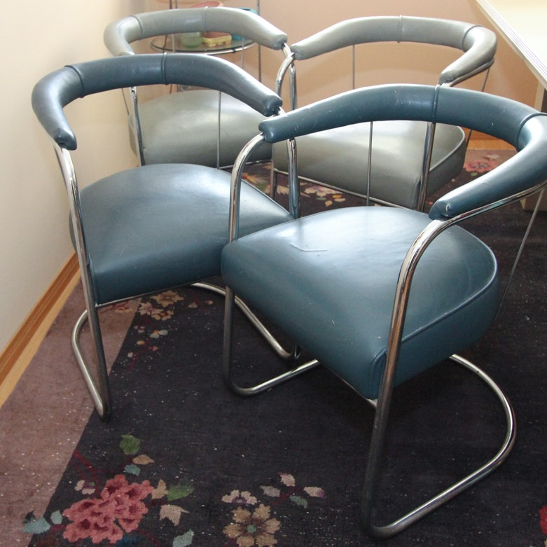 PEL International Chrome and Leather Chairs