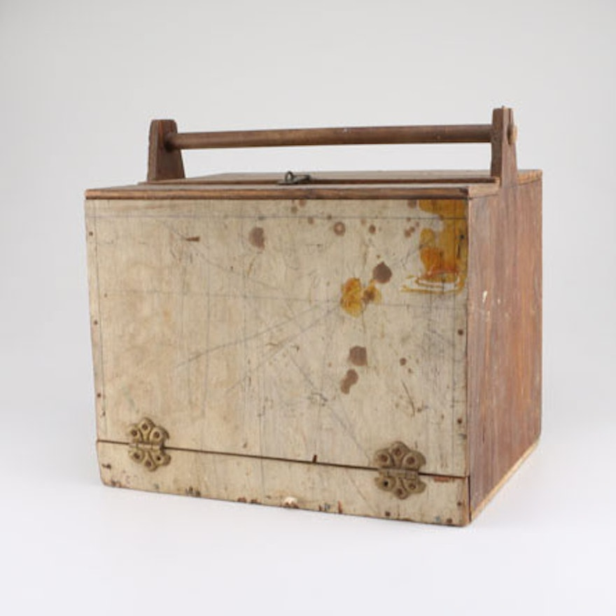 Antique Wooden Box With Handle