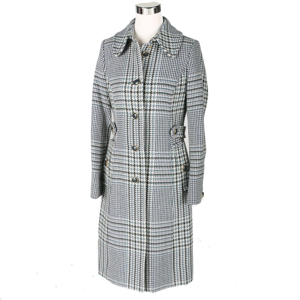 Tory Burch Virginia Houndstooth Plaid Coat