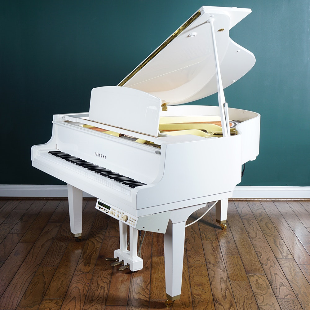 White Yamaha GP Disklazier Baby Grand Piano