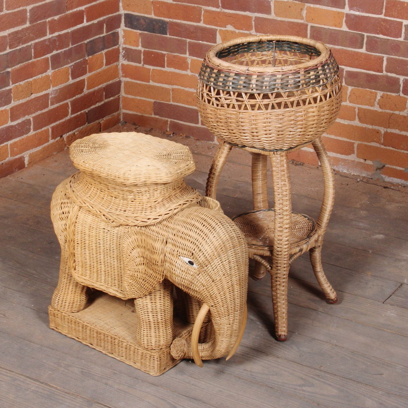 Hollywood Regency Style Wicker Elephant and Stand