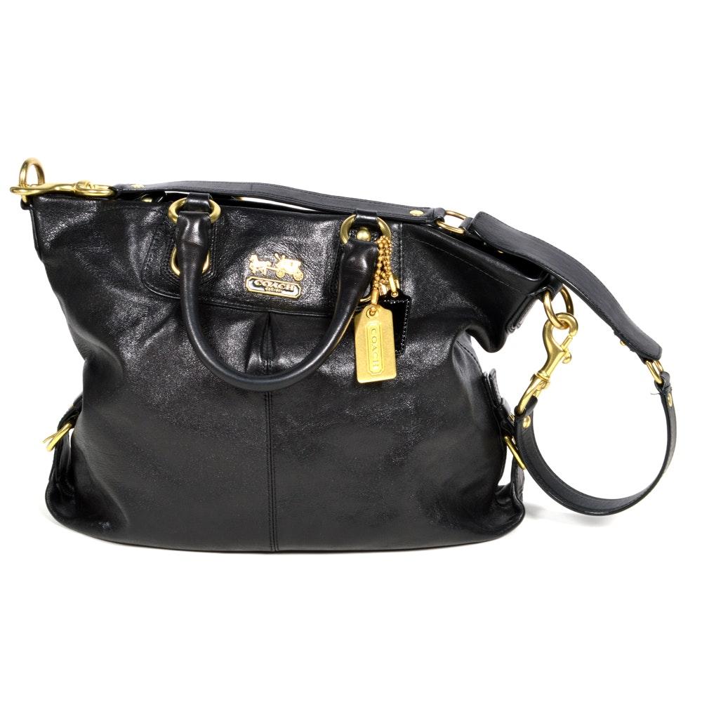 """Coach """"Madison Julian"""" Black Leather Shoulder Bag"""