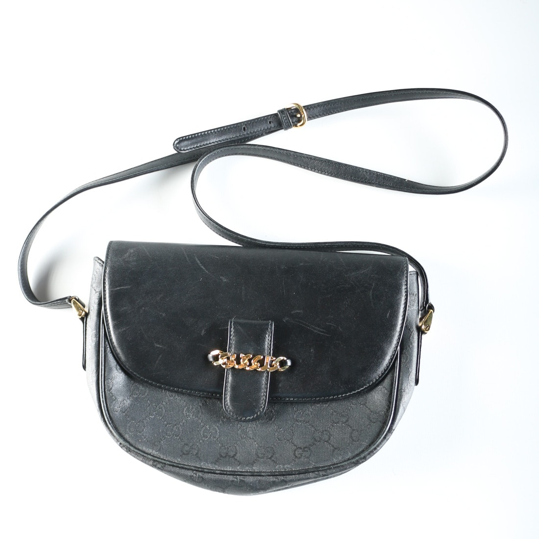 Vintage Black Leather Classic Gucci Bag