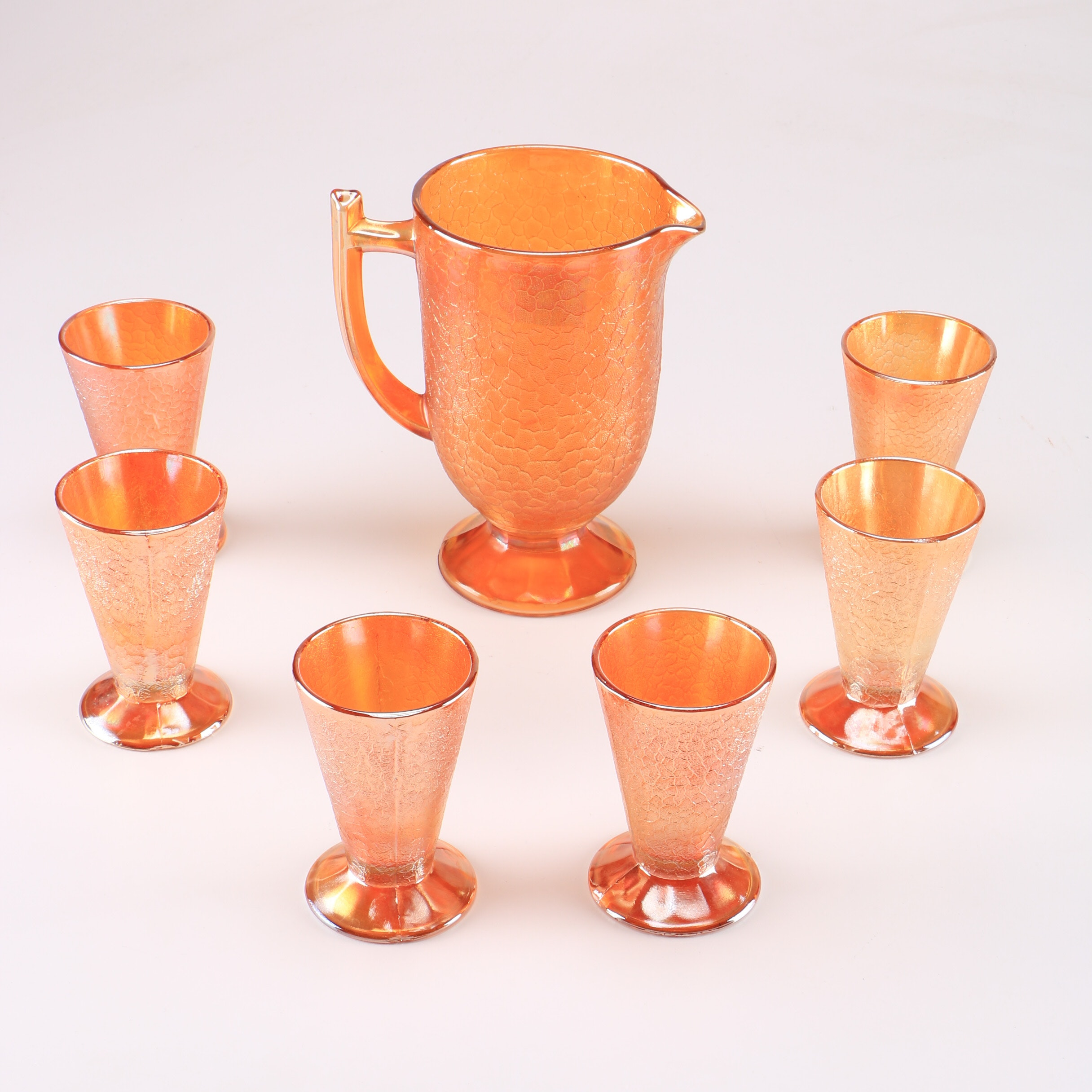 Collection of Carnival Glasss Marigold Pitcher and Goblets