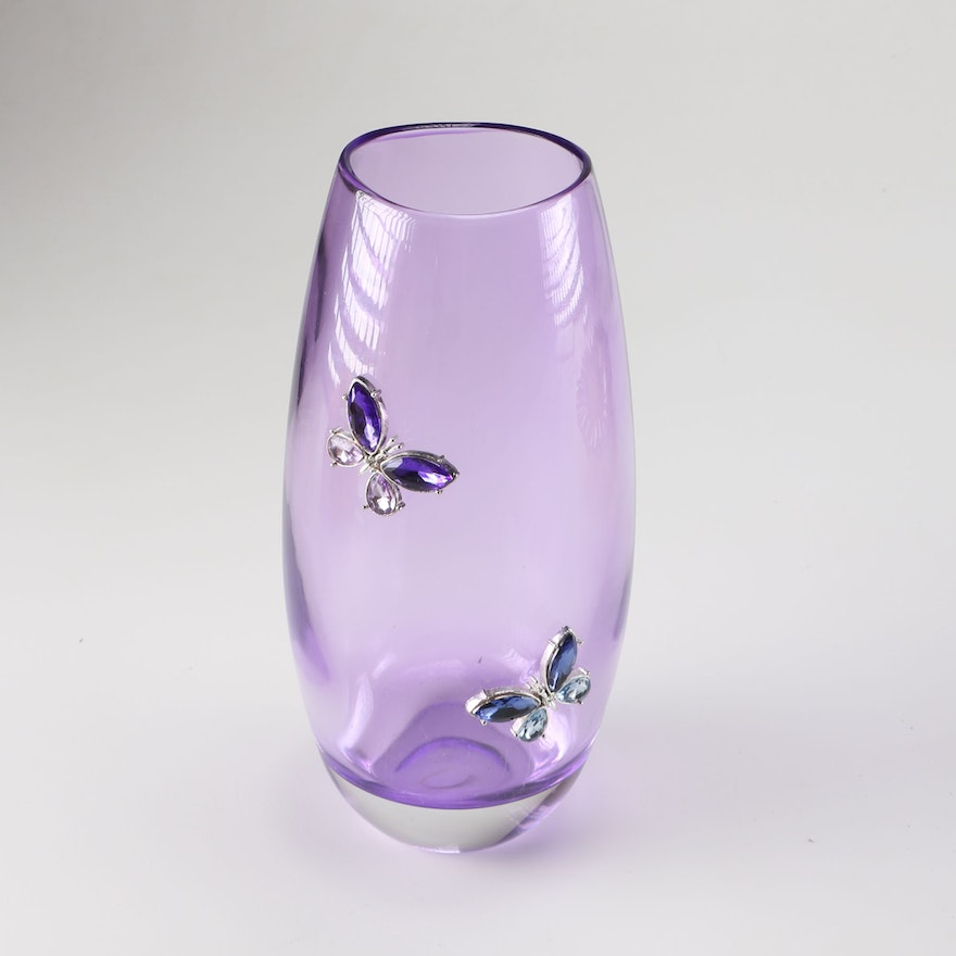 Purple Teleflora Crystal Vase With Butterfly Motif Ebth