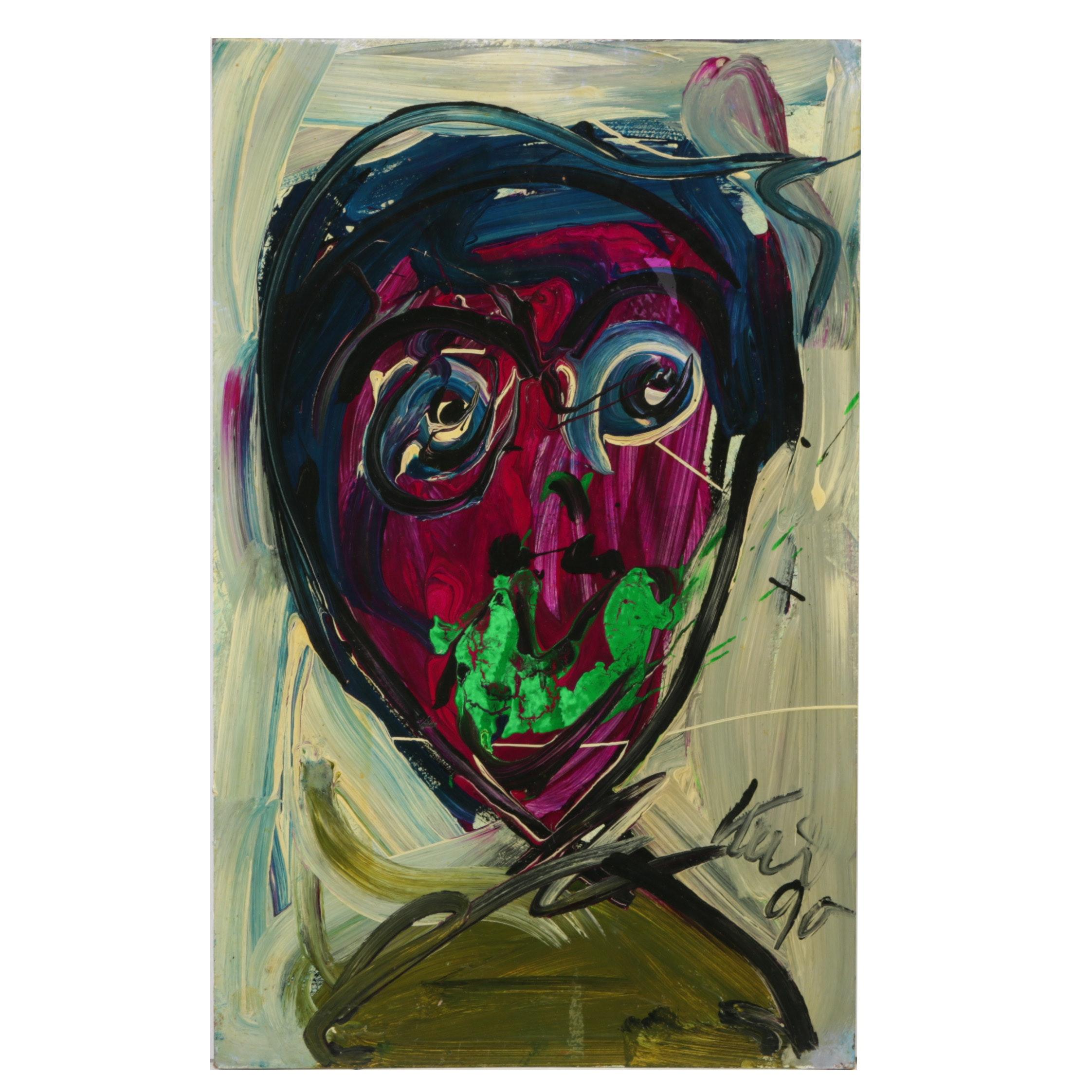 Peter Keil Original Oil Painting on Board Portrait 1990