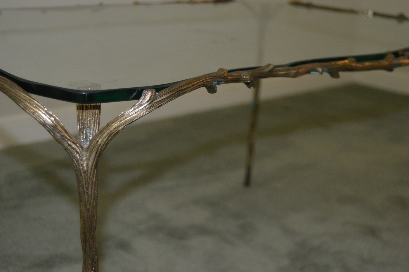 Glass Coffee Table With Tree Branch Metal Frame Ebth