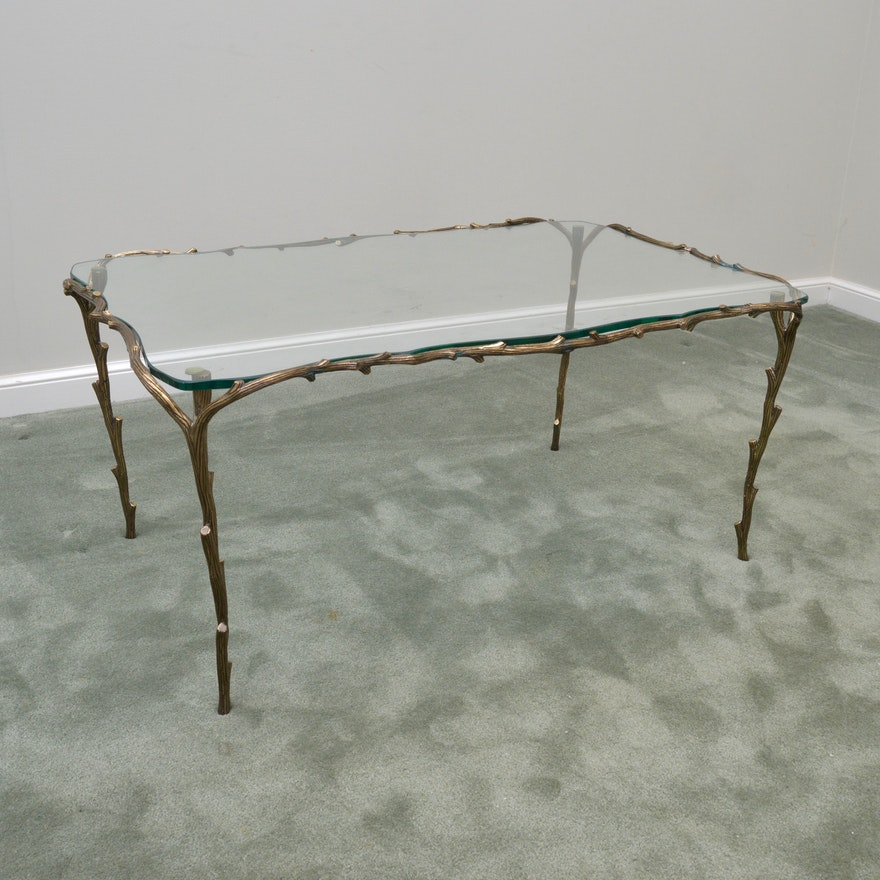 Glass Coffee Table With Tree Branch Metal Frame