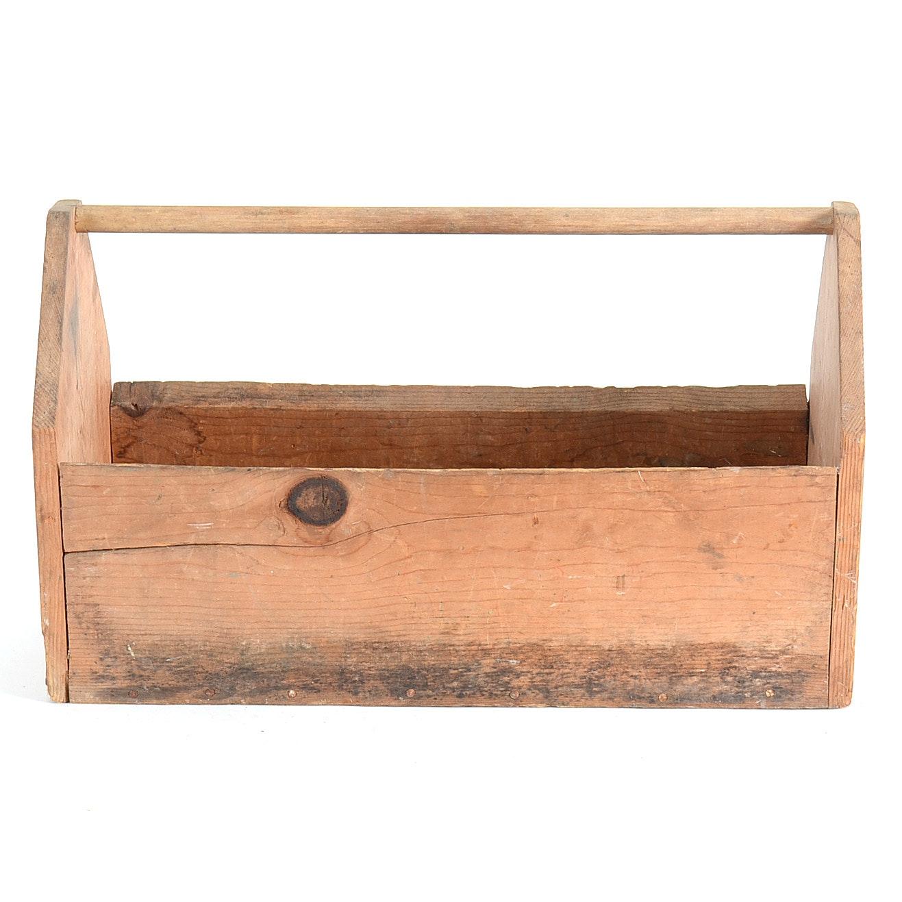 Antique Wood Carpenter's Toolbox