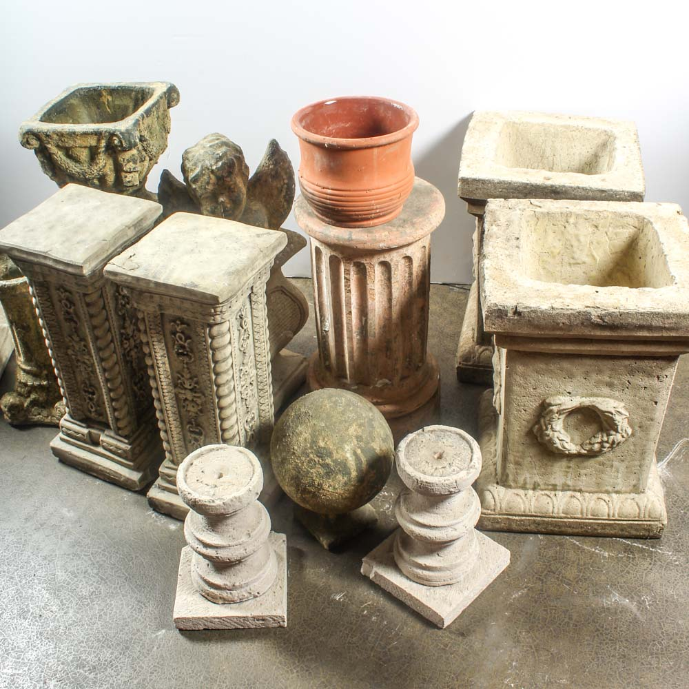 Cement Garden Pedestals and Planters EBTH