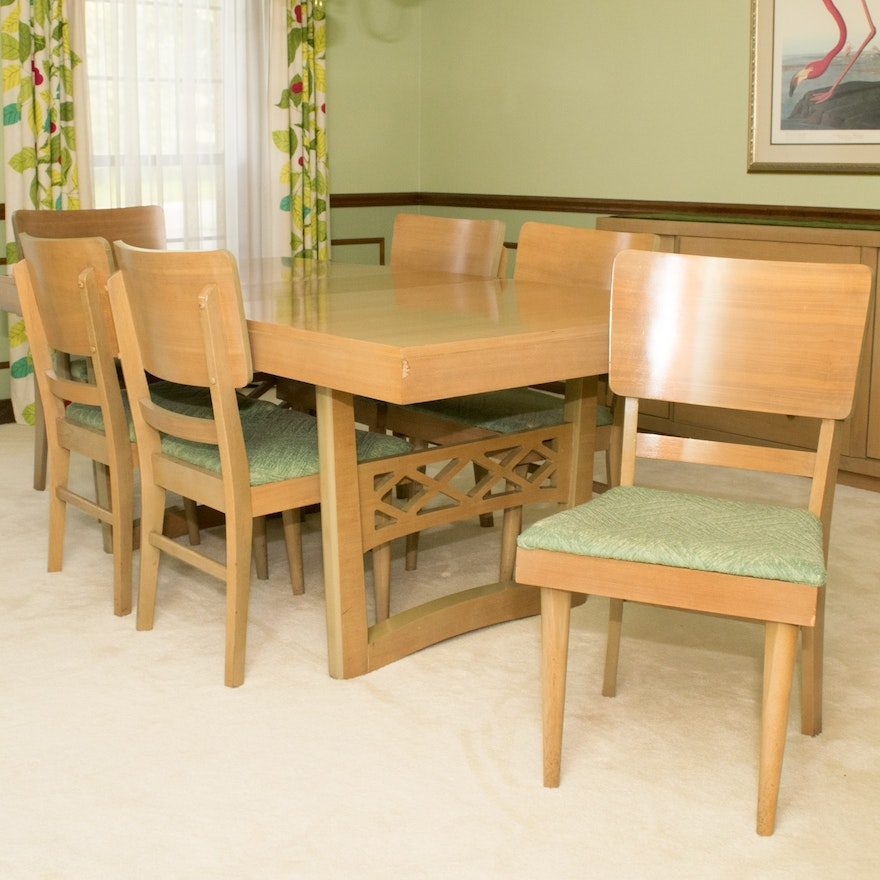 Mid-Century Modern Bassett Furniture Dining Table and Six Chairs : EBTH