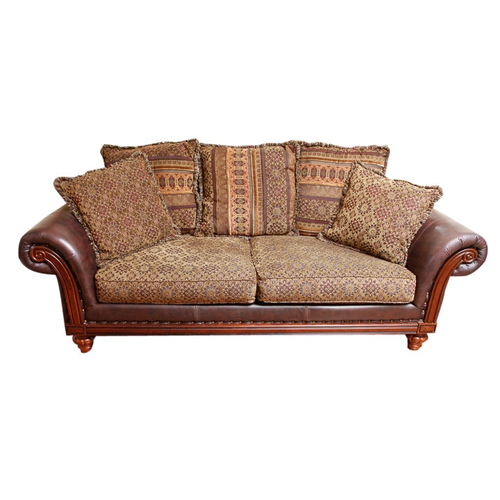 Leather sofa and throw pillows ebth