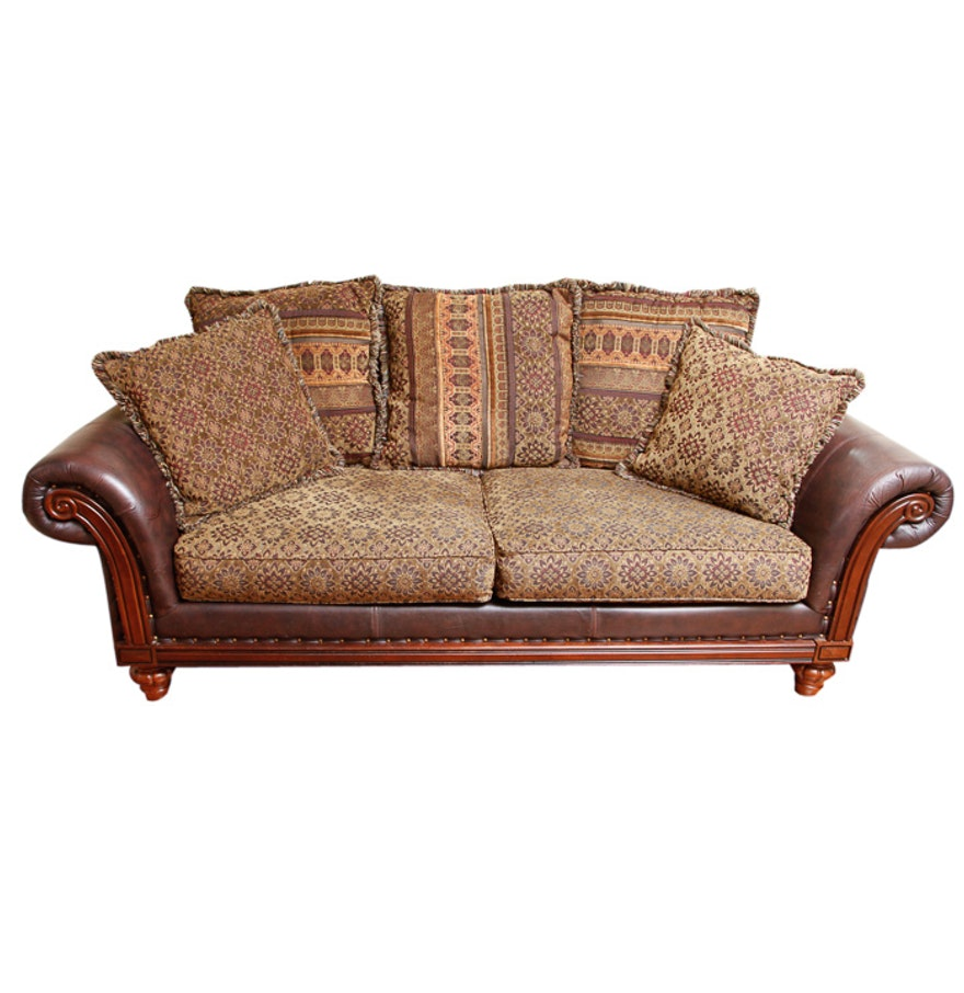Leather Sofa And Throw Pillows Ebth