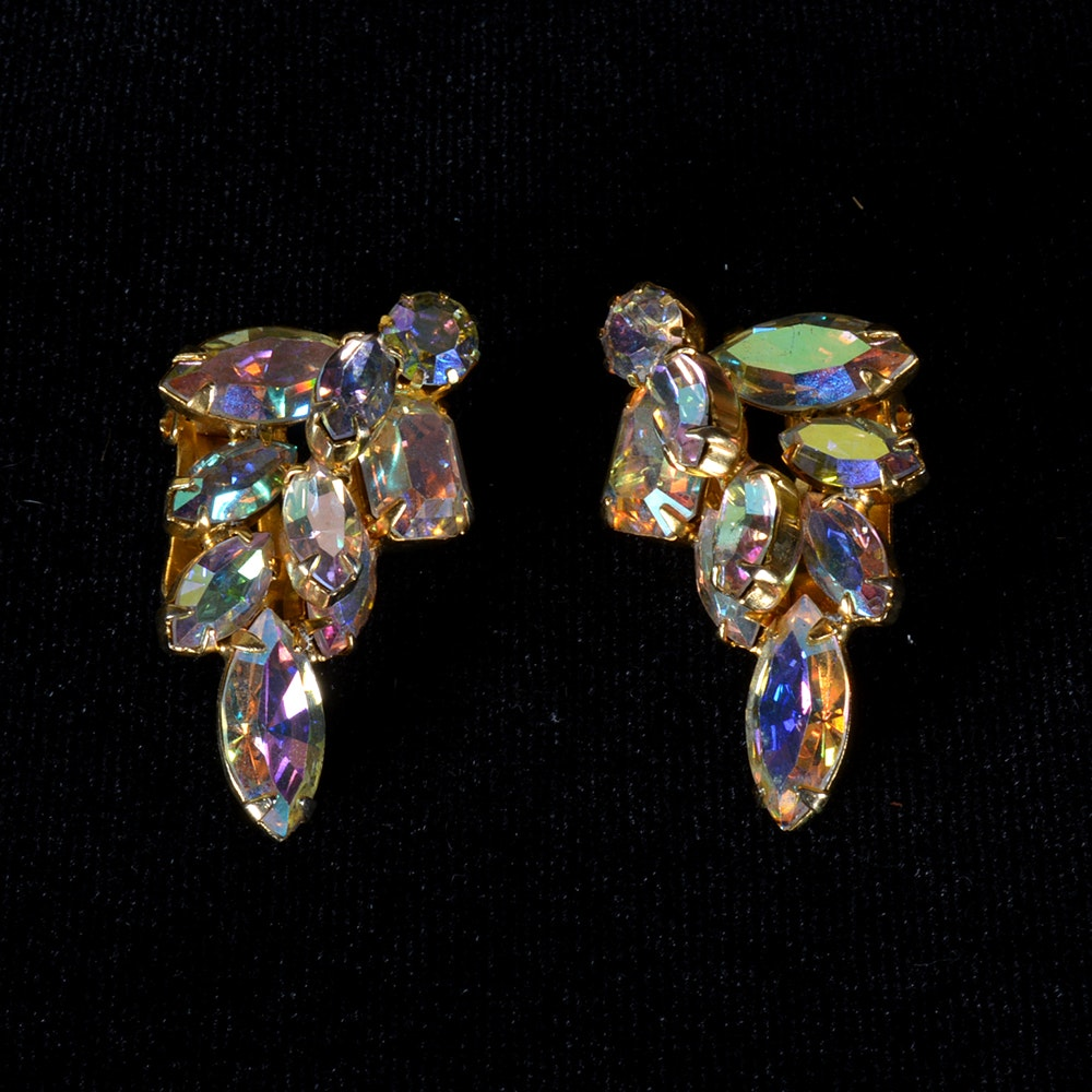 Vintage Rhinestone Clip-On Earrings by Weiss