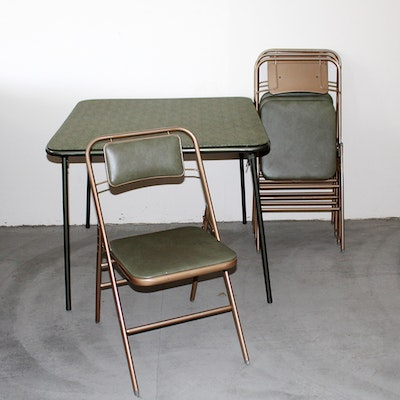 Vintage Card Table And Four Chairs Ebth