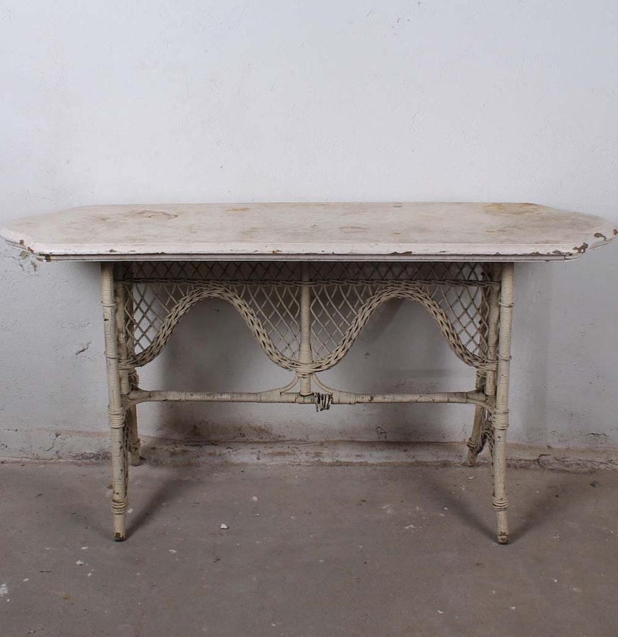Vintage victorian style wicker console table ebth vintage victorian style wicker console table geotapseo Images