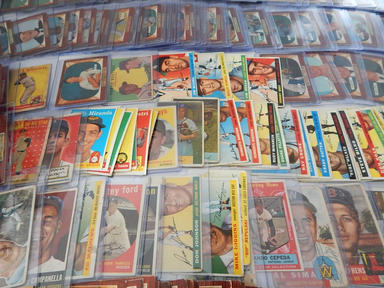 Large Collection of 200 - 1950's TOPPS and Bowman Baseball Cards