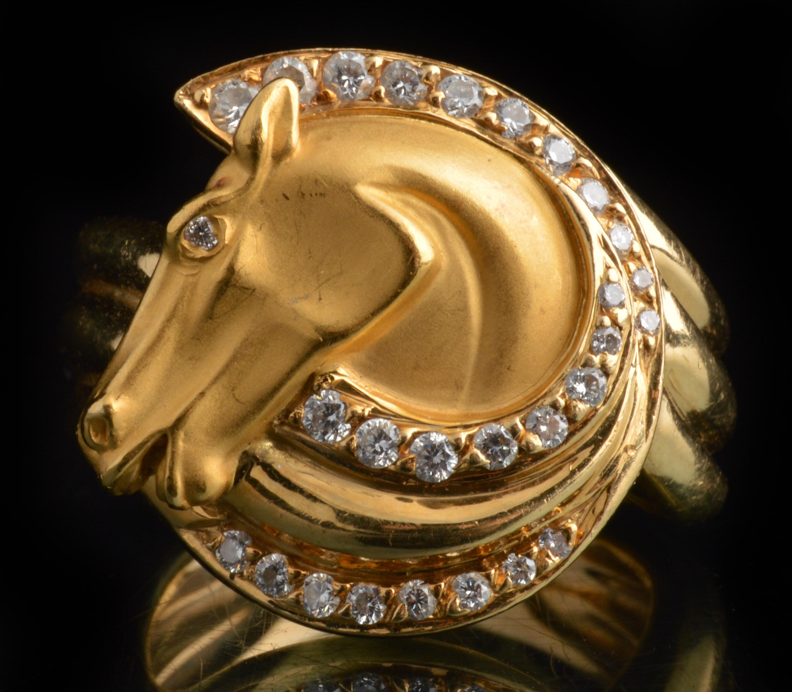 Carrera y Carrera 18K Yellow Gold and Diamond Horse Head Ring