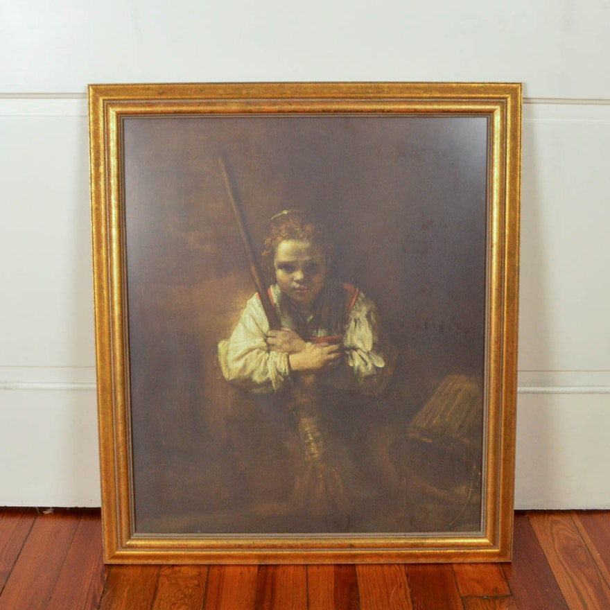 Framed Lithograph After Rembrandts Original Oil Painting A Girl