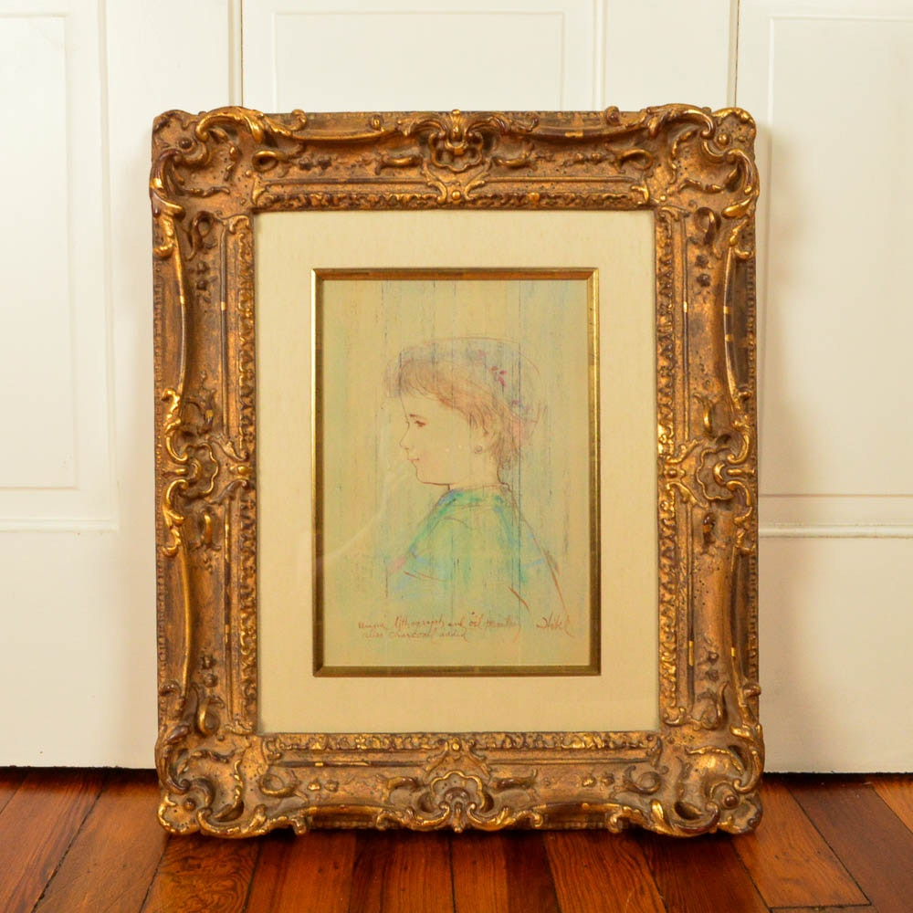 """Framed Signed Lithograph and Oil """"Profile of a Young Girl"""" After Edna Hibbel"""