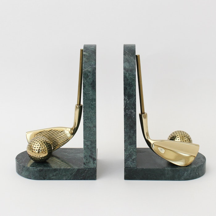Set of Marble and Brass Golf Bookends