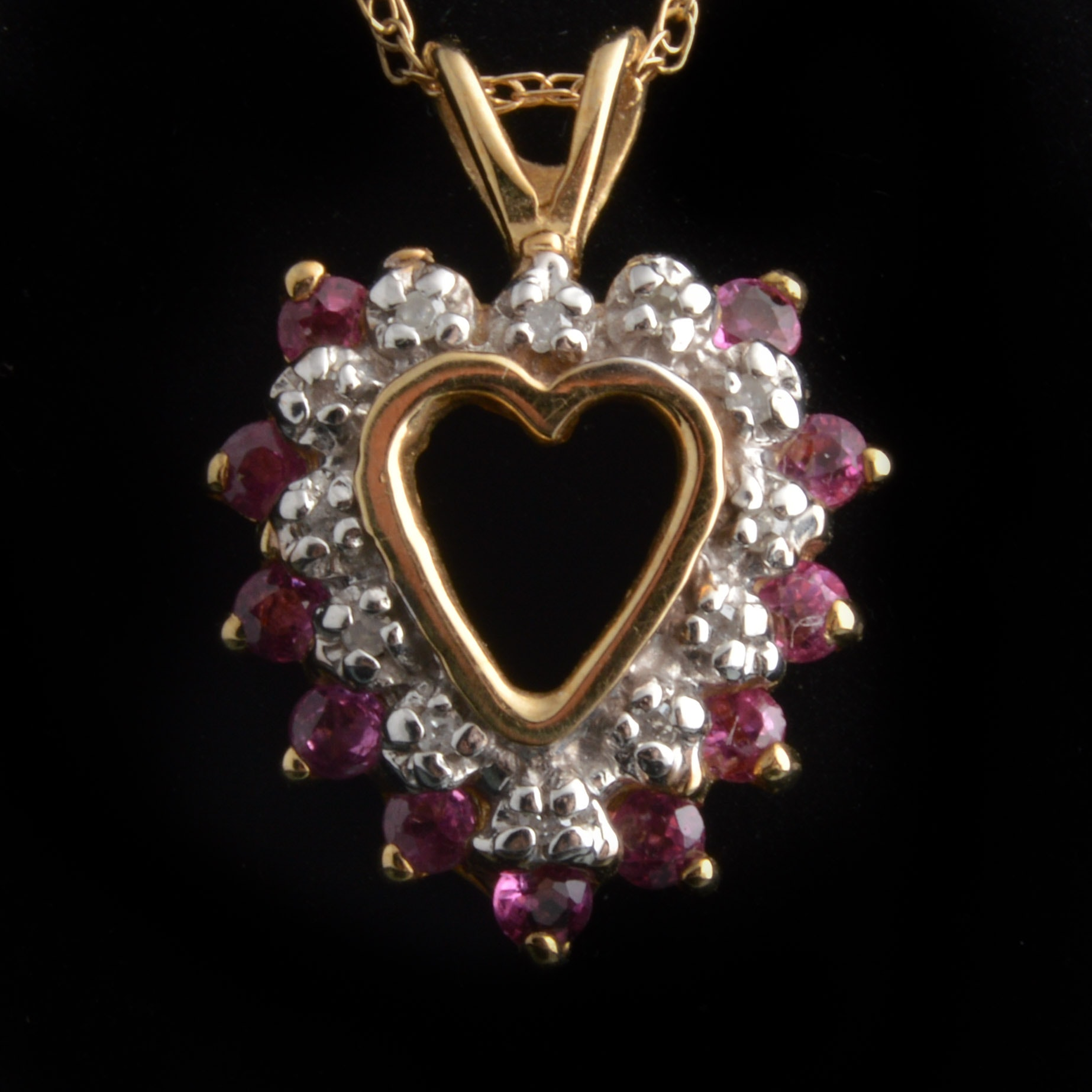 10K Yellow Gold Heart Necklace with Rubies and Diamonds